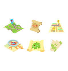 maps icon set cartoon style vector image