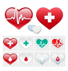 medical set hearts icons vector image