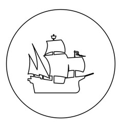 Medieval ship icon black color in round circle vector