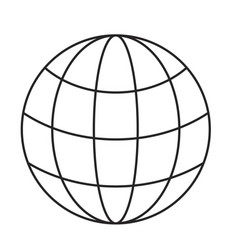 monochrome silhouette of world globe icon vector image