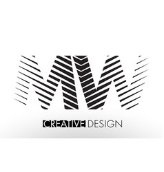 Mw m w lines letter design with creative elegant vector