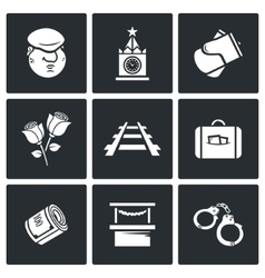 Newcomer migrant icons vector