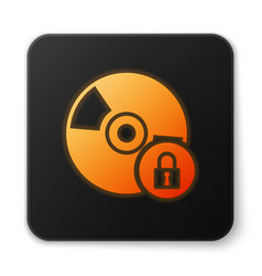 Orange glowing cd or dvd disk with closed padlock vector