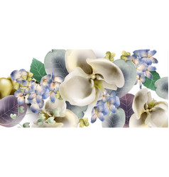 orchid flowers vintage banner watercolor delicate vector image
