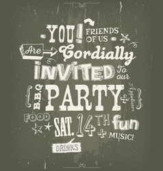 Party invitation poster on chalkboard background vector