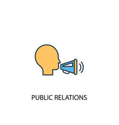 Public relations concept 2 colored line icon vector