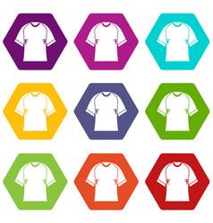 Raglan tshirt icon set color hexahedron vector