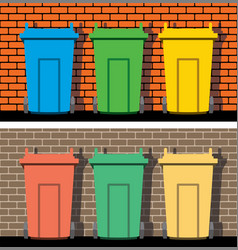 recycling wheelie bins against background of vector image