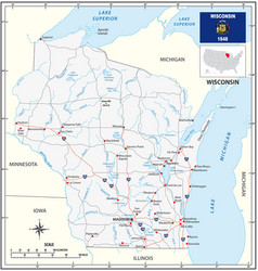 road map us state wisconsin with flag vector image