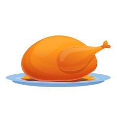 Roasted chicken icon cartoon style vector