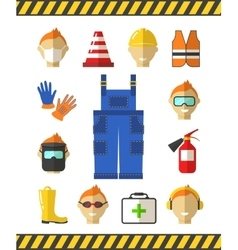 Safety at work job flat icons protective vector
