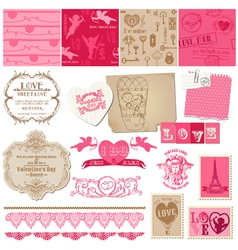 Scrapbook Love Set of design elements vector image