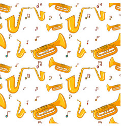 Seamless background with saxophone and music notes vector