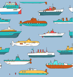 seamless pattern with submarines and ships vector image