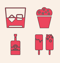 Set ice cream glass whiskey and ice cubes vector