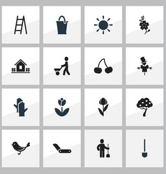 set of 16 editable planting icons includes vector image