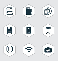 Set of 9 computer hardware icons includes audio vector