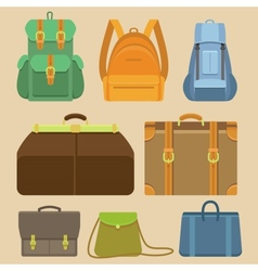 Set of flat icons - bags and backpacks vector