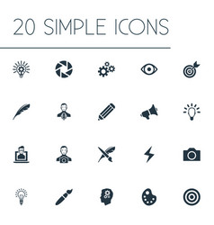 Set of simple visual art icons vector