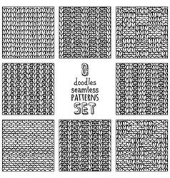set of various doodles stitch patterns vector image