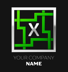 silver letter x logo symbol in the square maze vector image