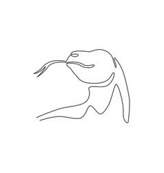 single continuous line drawing komodo dragon vector image