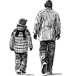 sketch a father with his child going down the vector image