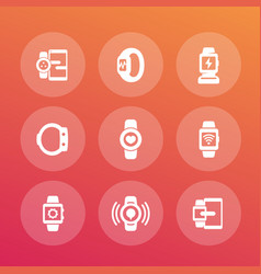 smart watch icons set wearable devices vector image