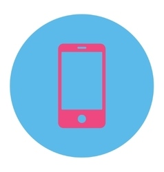 Smartphone flat pink and blue colors round button vector image