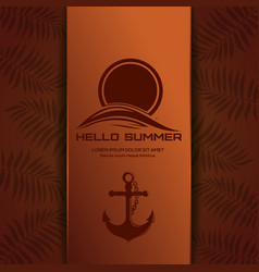 Summer logo design with ship anchor hello summer vector