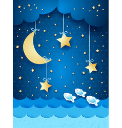 Surreal seascape with moon and stars vector