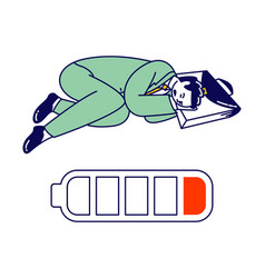 Tired and exhausted businessman character lying on vector
