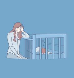 Tiredness exhaustion sleep lack concept vector