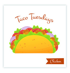 traditional mexican chicken tacos food banner vector image