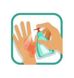 treating hand injury with antiseptic home care vector image