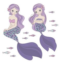 two mermaids sea ocean travel princess illu vector image