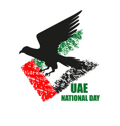 Uae national day poster with falcon silhouette vector