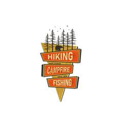 Vintage hand drawn travel badge design camping vector