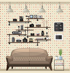 Vintage modern living room vector