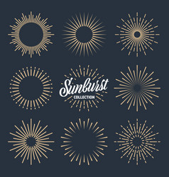 vintage sunburst collection bursting sun rays vector image