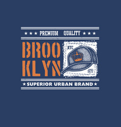 vintage urban typography with baseball cap vector image