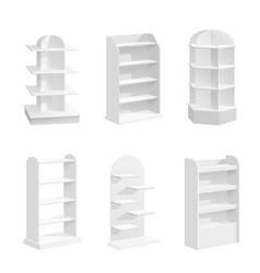 white racks empty shop displays supermarket vector image