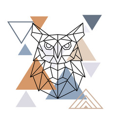 wild owl in geometric style vector image