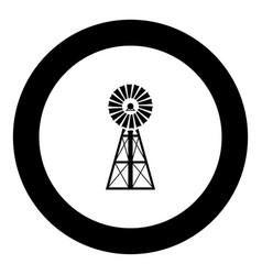 Wind turbine windmill classic american icon black vector