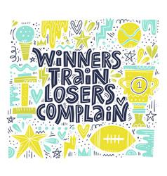 winners train lettering vector image