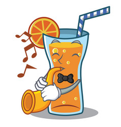 with trumpet cocktail character cartoon style vector image