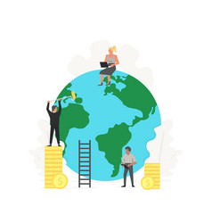 working people clean up and build green planet vector image
