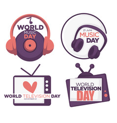 world music and television day logo set with date vector image