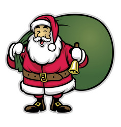cartoon of santa claus bring the bunch of prizes vector image
