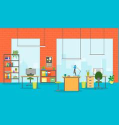 cartoon office room interior vector image